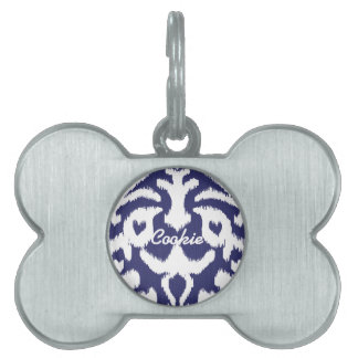 Cool blue and white ikat tribal pattern pet tag