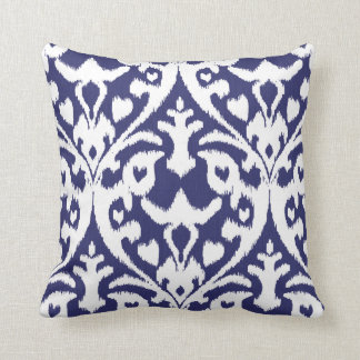 Cool blue and white ikat tribal pattern pillow