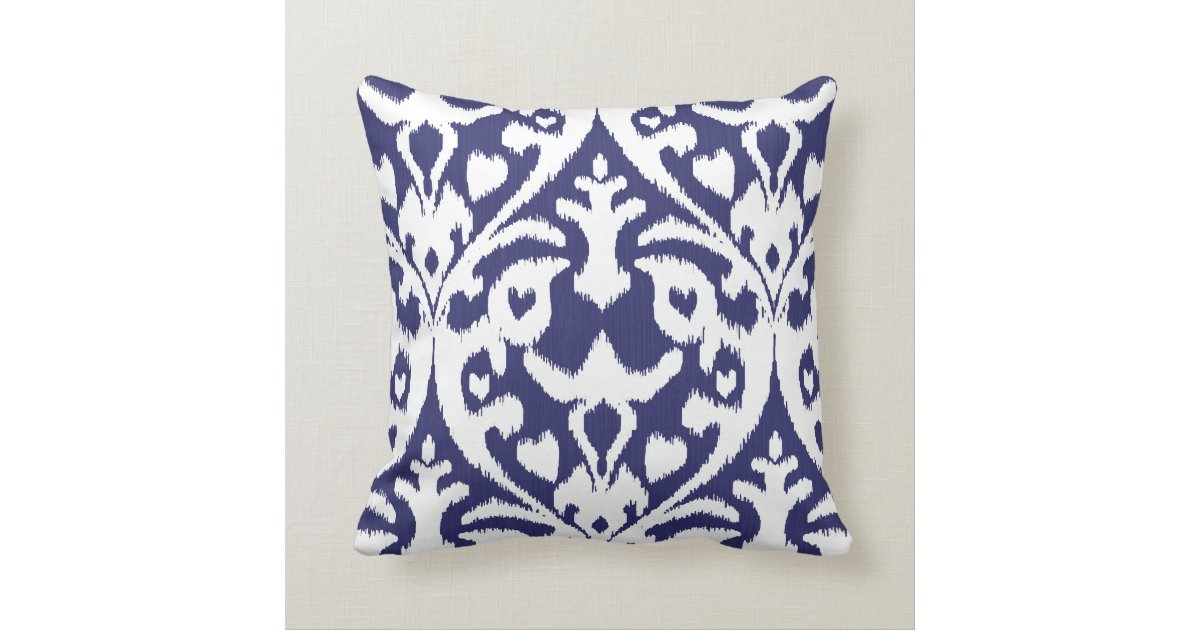 Tribal Design Throw Pillows : Cool blue and white ikat tribal pattern throw pillows Zazzle