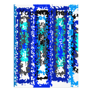 """Cool blue and white psychedelic rectangles 8.5"""" x 11"""" flyer"""