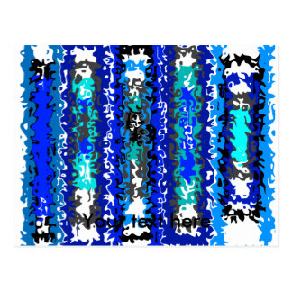 Cool blue and white psychedelic rectangles postcard