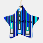 Cool blue and white rectangles christmas ornaments