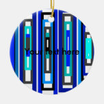 Cool blue and white rectangles christmas tree ornament