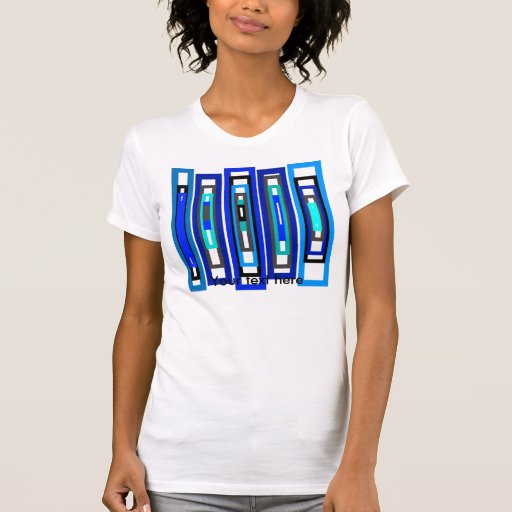 Cool blue and white rectangles tees