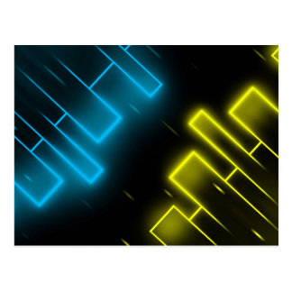Cool Blue and Yellow Abstract Postcard