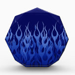 """Cool Blue Automotive Racing Flames Acrylic Award<br><div class=""""desc"""">A racy automotive cool blue pin stripe flames graphic design decor that can always make for a great custom gift for yourself or for someone special on your list, these are sure to make an impression on any festive occasions. Email us using the &quot;Ask this Designer&quot; email link below for...</div>"""
