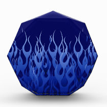 Cool Blue Automotive Racing Flames Acrylic Award