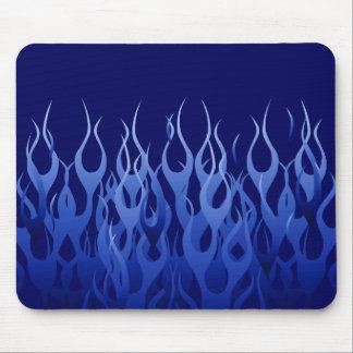 Cool Blue Automotive Racing Flames Mouse Pad