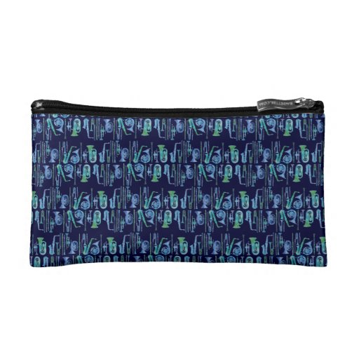 Cool Blue Band Stripes Makeup Bags