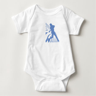 Cool Blue Baseball Logo Baby Bodysuit