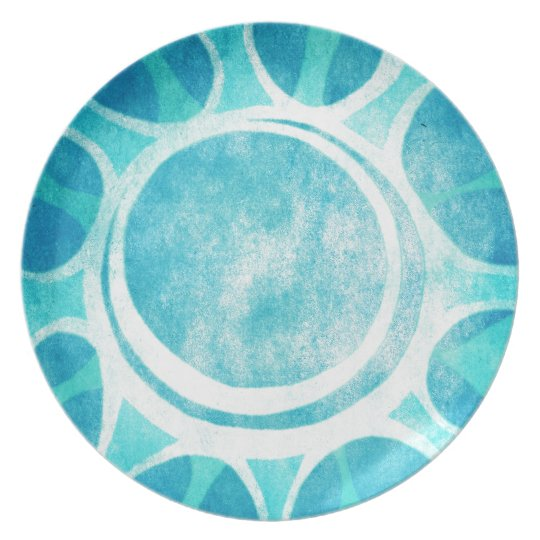 """Cool Blue"" Batik Flower Illustration Dinner Plate"