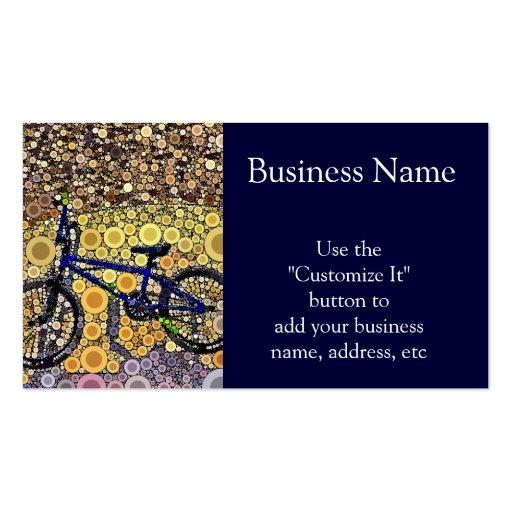 Cool Blue Bike Concentric Circle Mosaic Pattern Business Card
