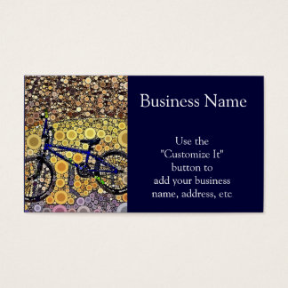 Cool Blue Bike Concentric Circle Mosaic Pattern Business Card