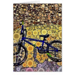 Cool Blue Bike Concentric Circle Mosaic Pattern Stationery Note Card
