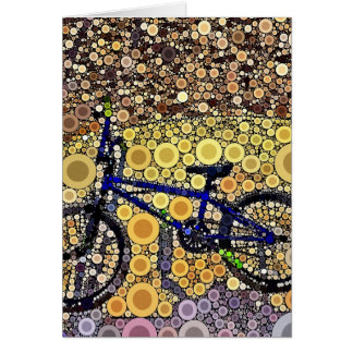 Cool Blue Bike Concentric Circle Mosaic Pattern Card