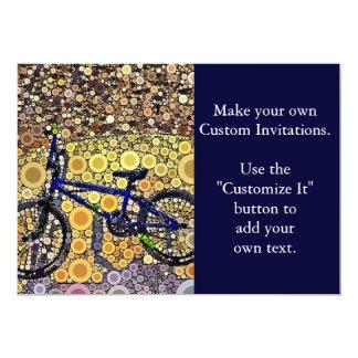 Cool Blue Bike Concentric Circle Mosaic Pattern Card