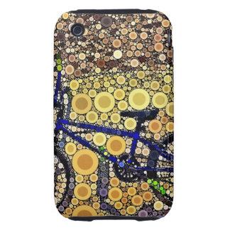 Cool Blue Bike Concentric Circle Mosaic Pattern iPhone 3 Tough Case