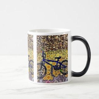 Cool Blue Bike Concentric Circle Mosaic Pattern Magic Mug