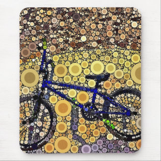 Cool Blue Bike Concentric Circle Mosaic Pattern Mouse Pad