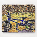 Cool Blue Bike Concentric Circle Mosaic Pattern Mouse Pad