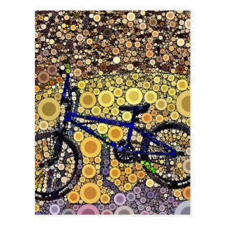 Cool Blue Bike Concentric Circle Mosaic Pattern Postcard