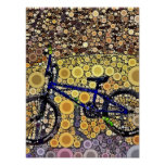 Cool Blue Bike Concentric Circle Mosaic Pattern Poster