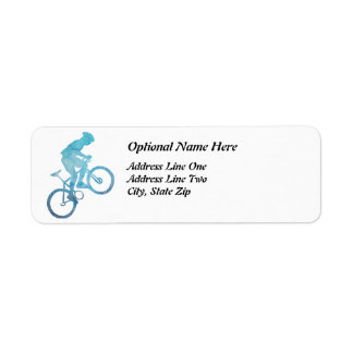 Cool Blue Biker Return Address Label
