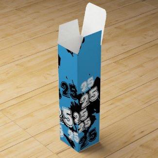 Cool Blue Black 25th Birthday Wine Gift Box