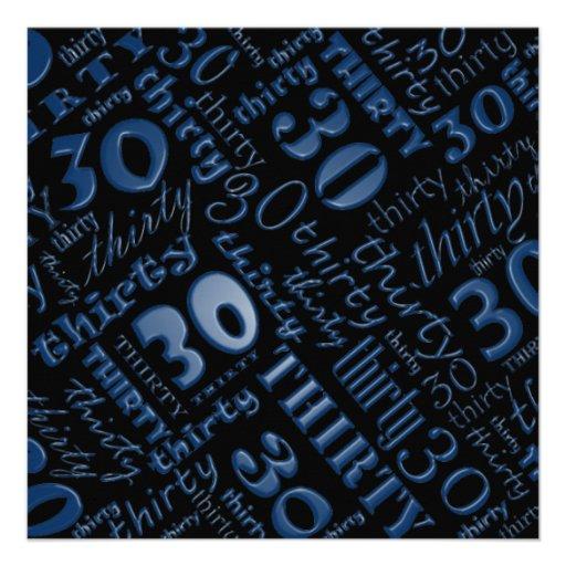 Cool Blue & Black 30th Birthday Party Invitation