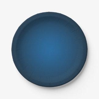Cool Blue-Black Grainy Vignette 7 Inch Paper Plate
