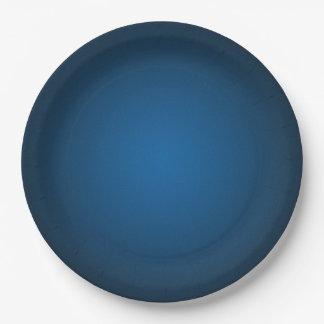 Cool Blue-Black Grainy Vignette 9 Inch Paper Plate