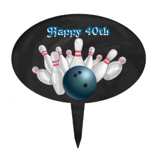 Cool Blue Bowling Ball Party Cake Topper