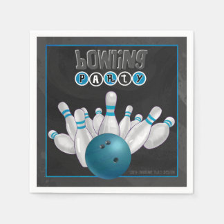 Cool Blue Bowling Party Paper Napkins Standard Cocktail Napkin