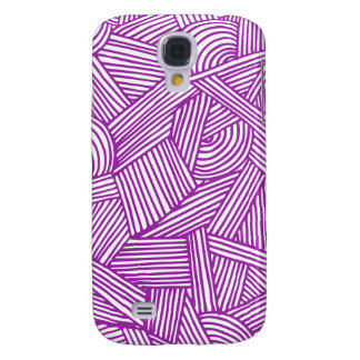 Cool Blue / Brown Fun Doodle Lines Samsung Galaxy S4 Cases