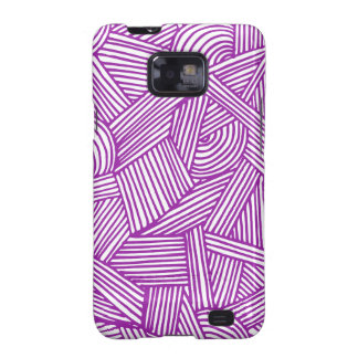 Cool Blue / Brown Fun Doodle Lines Samsung Galaxy S2 Cases