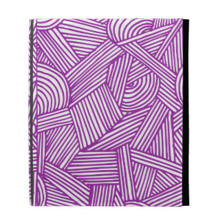 Cool Blue / Brown Fun Doodle Lines iPad Cases