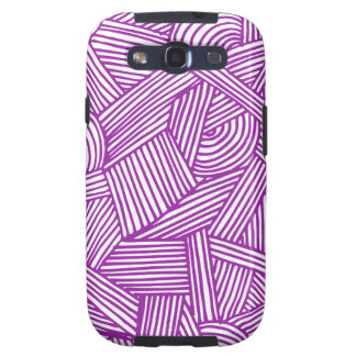 Cool Blue / Brown Fun Doodle Lines Galaxy S3 Cover