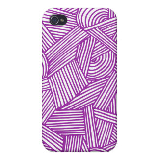 Cool Blue / Brown Fun Doodle Lines Case For iPhone 4