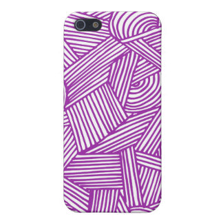 Cool Blue / Brown Fun Doodle Lines iPhone 5 Case
