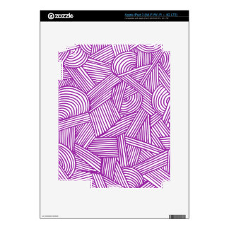 Cool Blue / Brown Fun Doodle Lines Decal For iPad 3