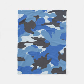 Cool Blue Camo Military Custom Fleece Blankets