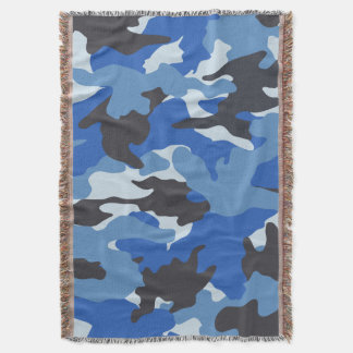 Cool Blue Camo Military Woven Throw Blankets