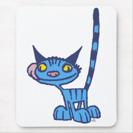Cool Blue Cat cartoon mousepad