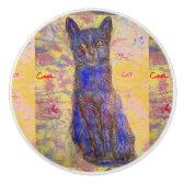 cool blue cat ceramic knob