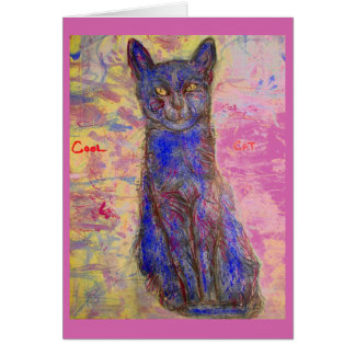 cool blue cat i luv you dude card