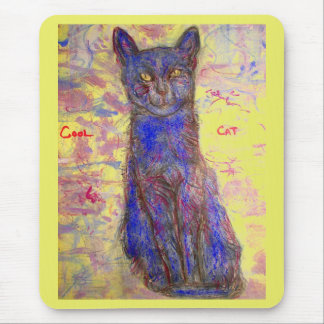 cool blue cat mouse pad