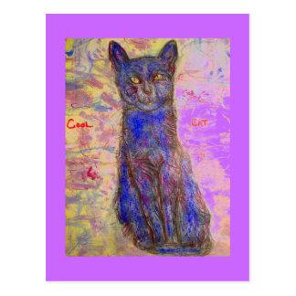 cool blue cat postcard