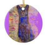 cool blue cat purple ceramic ornament
