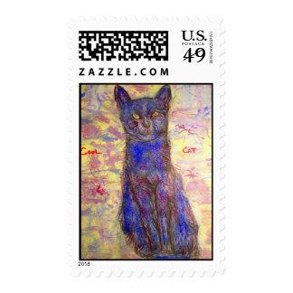 cool blue cat stamp