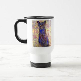cool blue cat travel mug